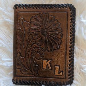 Vintage Handmade Men's Tooled Leather K L Wallet